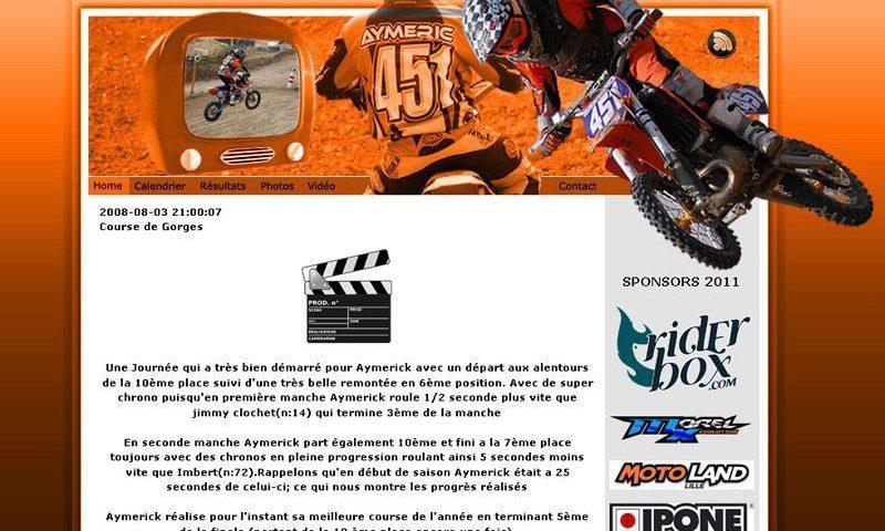 Site Web pour le pilote MX Aymerick Dupont