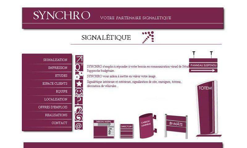 Site Web pour Synchro PLV