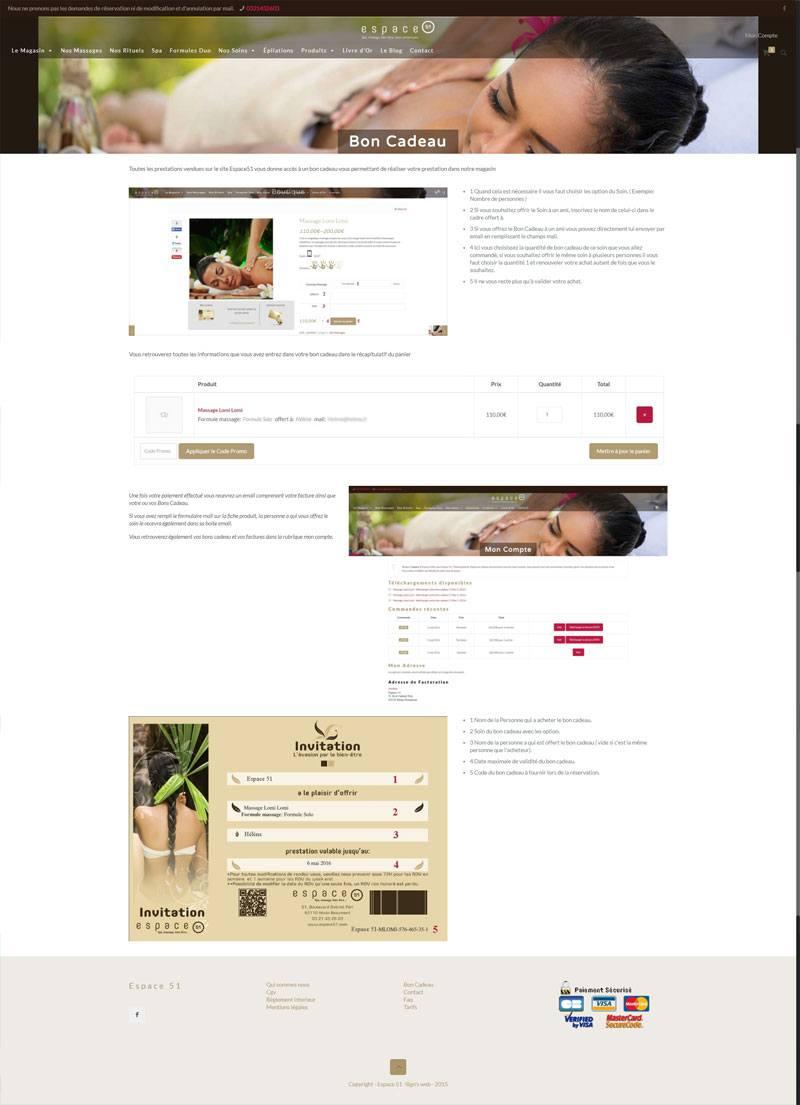 Site Ecommerce Espace 51 page bon cadeau