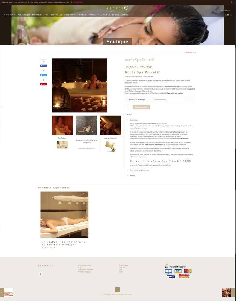Site Ecommerce Espace 51 page produit