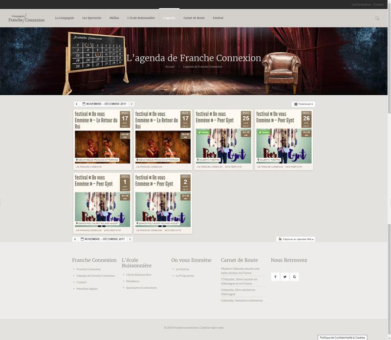 Site Web de la Compagnie Franche Connexion agenda